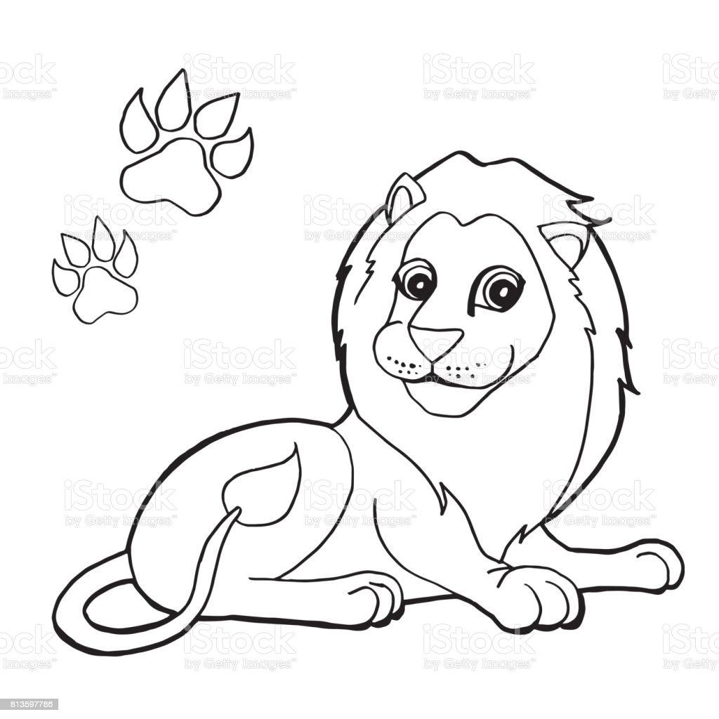 Ilustración de Impresión De La Pata Con Páginas Para Colorear León ...