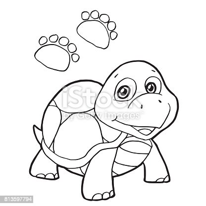 Pençe Baskı Ile Kaplumbağa Boyama Page Vektör Stok Vektör Sanatı