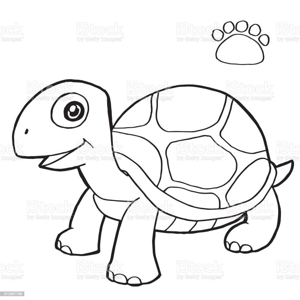 Ilustración De Impresión De La Pata Con Tortuga Vector Página Para