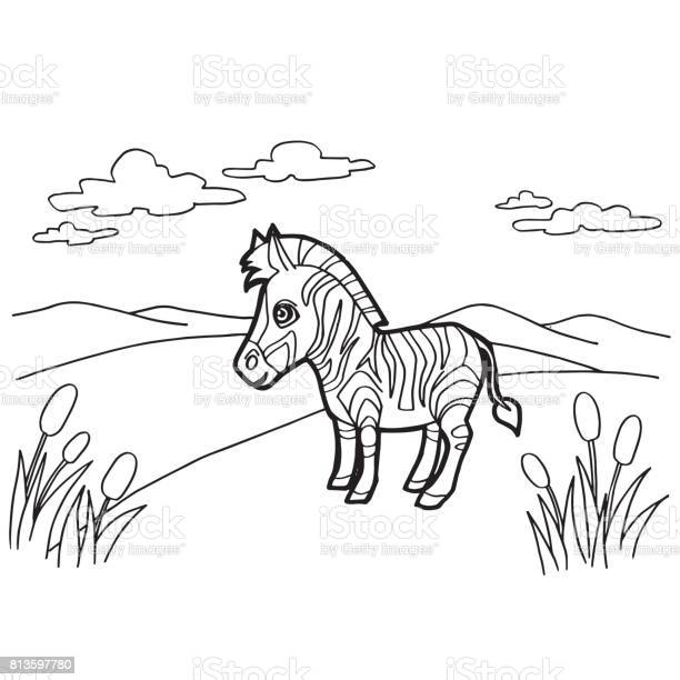 Paw Print With Zebra Coloring Pages Vector Stock Illustration Download Image Now Istock