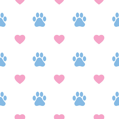 Paw Prints And Hearts Seamless Pattern