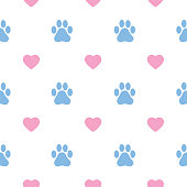 Vector seamless pattern of light blue paw prints and pink hearts on a white background.
