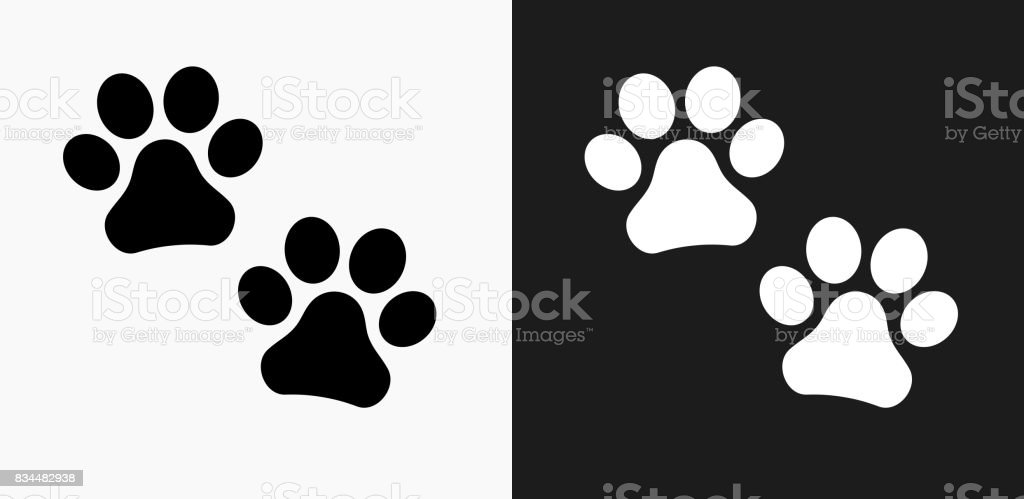 Paw Prints Icon on Black and White Vector Backgrounds royalty-free paw prints icon on black and white vector backgrounds stock vector art & more images of animal