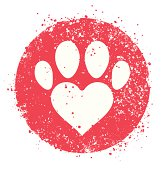 Paw sign with heart shape icon. Editable vector eps8 file.