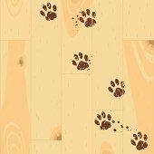 Paw tracks on the parquet floor .