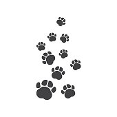 paw vector  icon of pet illustration design template