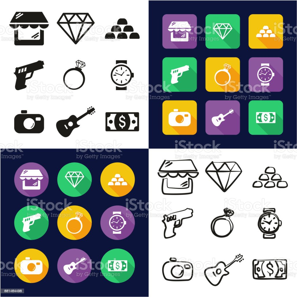 Pawn Shop All in One Icons Black & White Color Flat Design Freehand Set vector art illustration