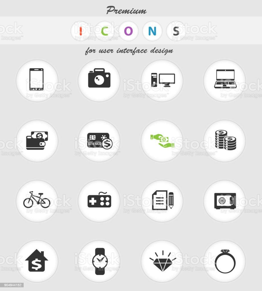 pawn shop icon set vector art illustration