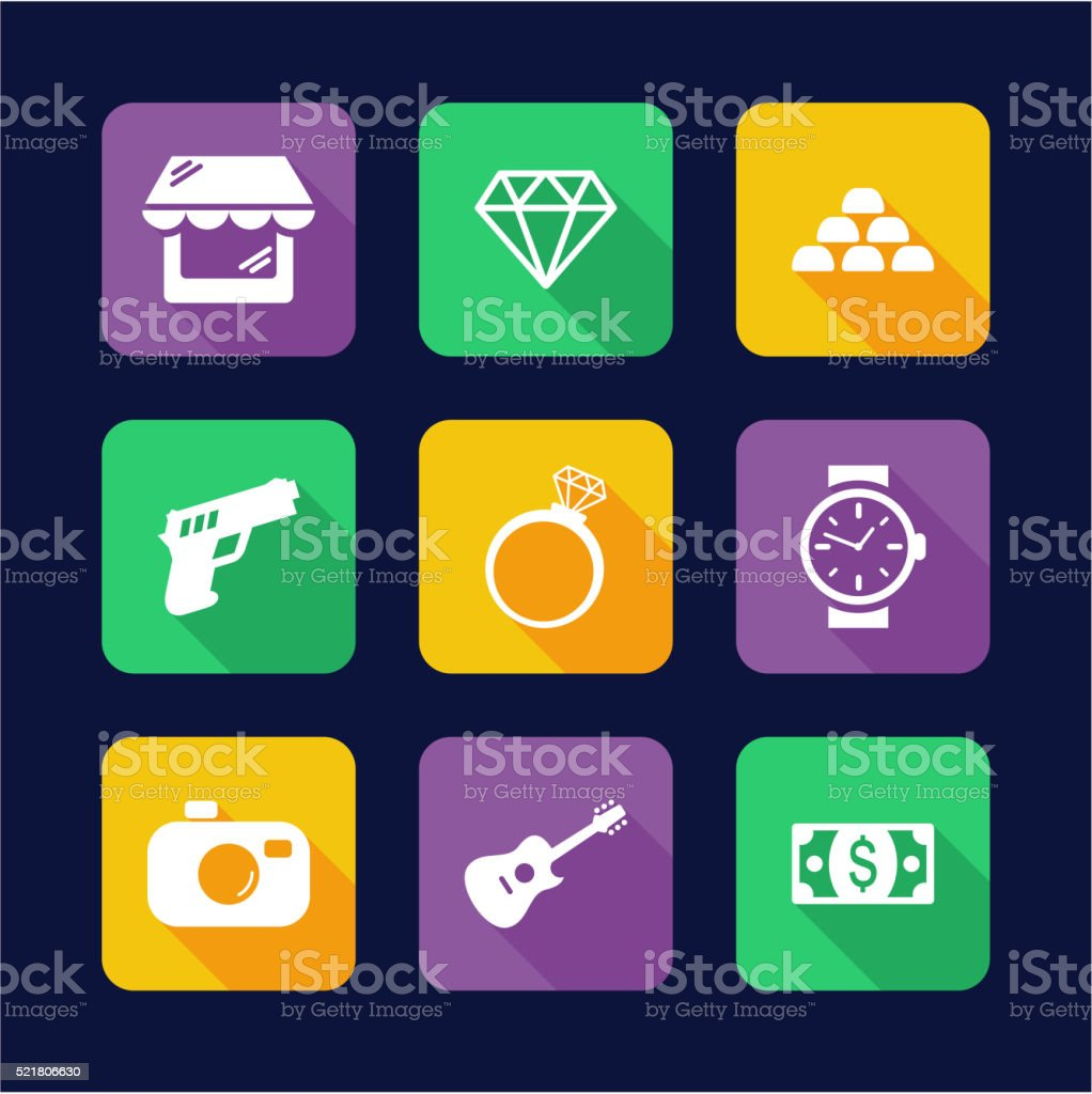 Pawn Shop Icons Flat Design vector art illustration