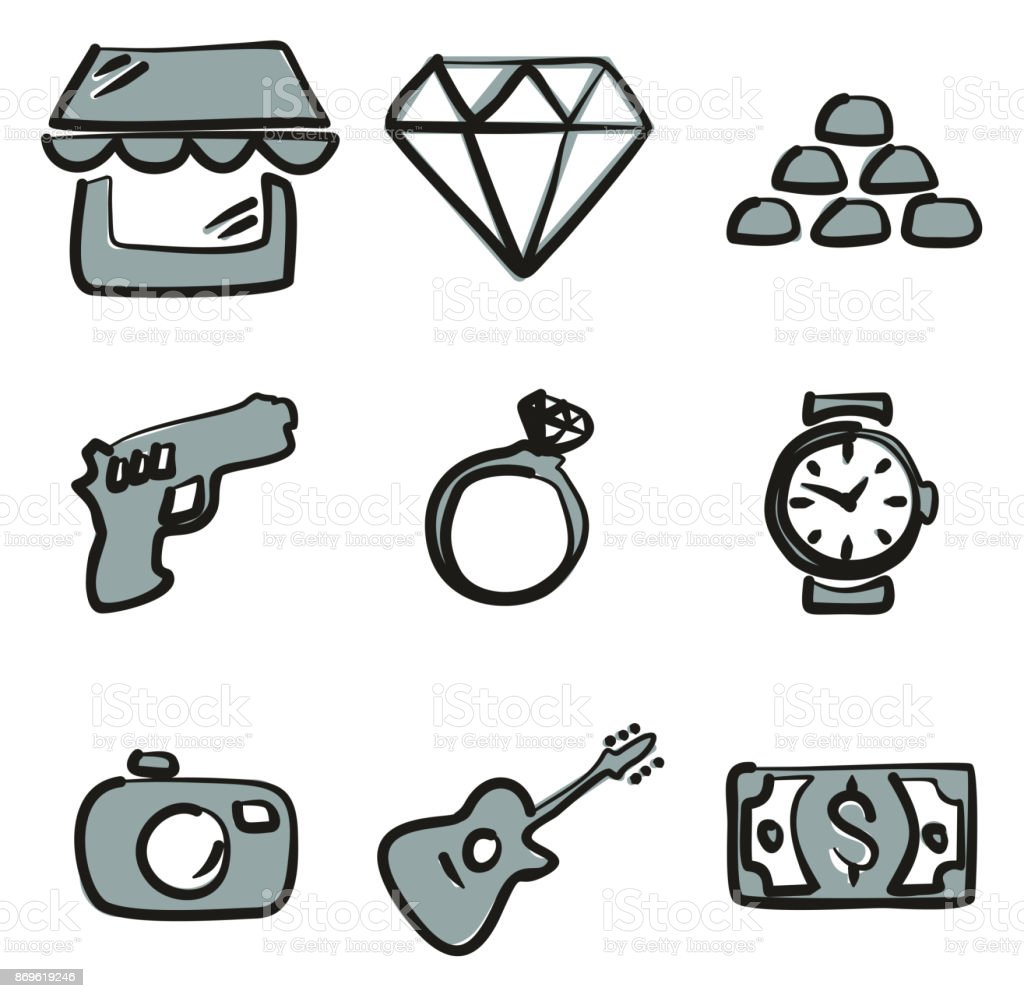 Pawn Shop Icons Freehand 2 Color vector art illustration