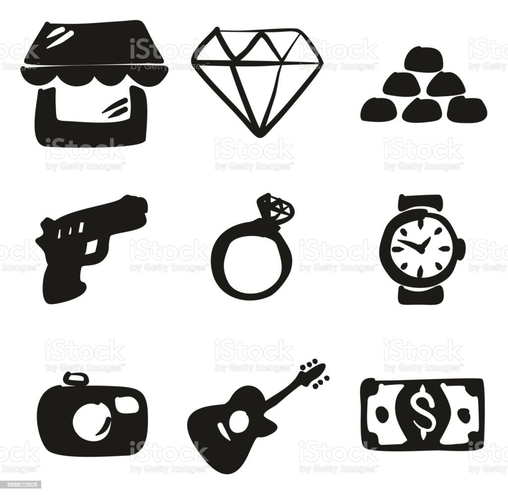 Pawn Shop Icons Freehand Fill vector art illustration