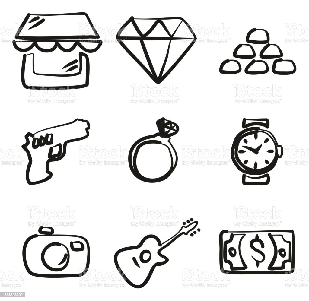 Pawn Shop Icons Freehand vector art illustration