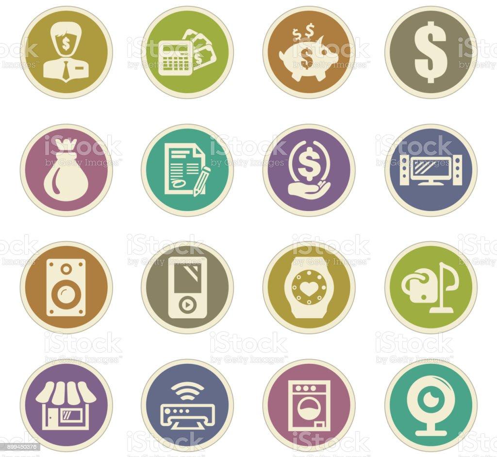 Pawn shop icons set vector art illustration