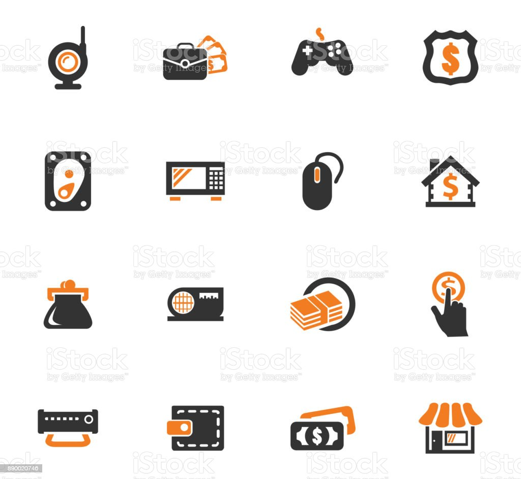 Pawn shop orange icons set vector art illustration