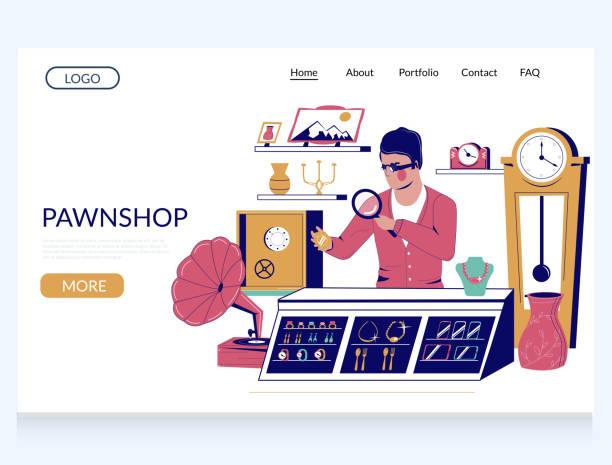 illustrazioni stock, clip art, cartoni animati e icone di tendenza di pawn shop vector website landing page template - uomo artigiano gioielli