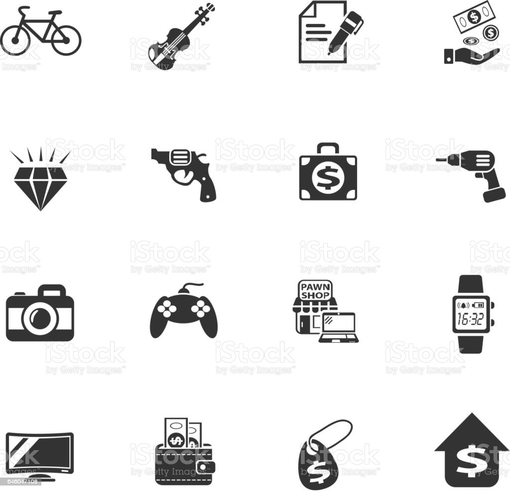 pawn shop web icons vector art illustration