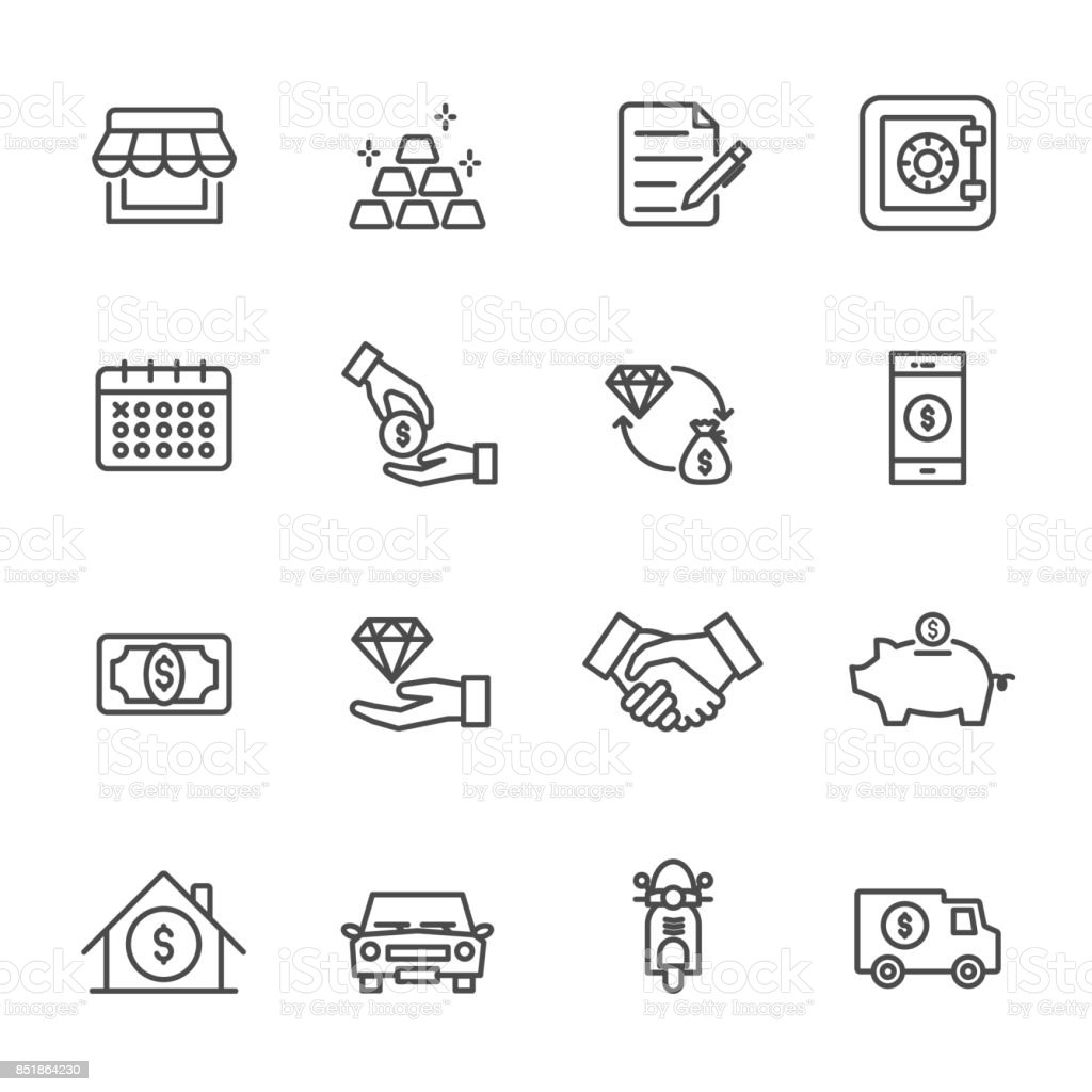 Pawnbroker, pawn shop icons set, Vector illustration of thin line icons for business, banking vector art illustration