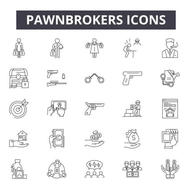illustrazioni stock, clip art, cartoni animati e icone di tendenza di pawnbrokers line icons, signs, vector set, linear concept, outline illustration - uomo artigiano gioielli