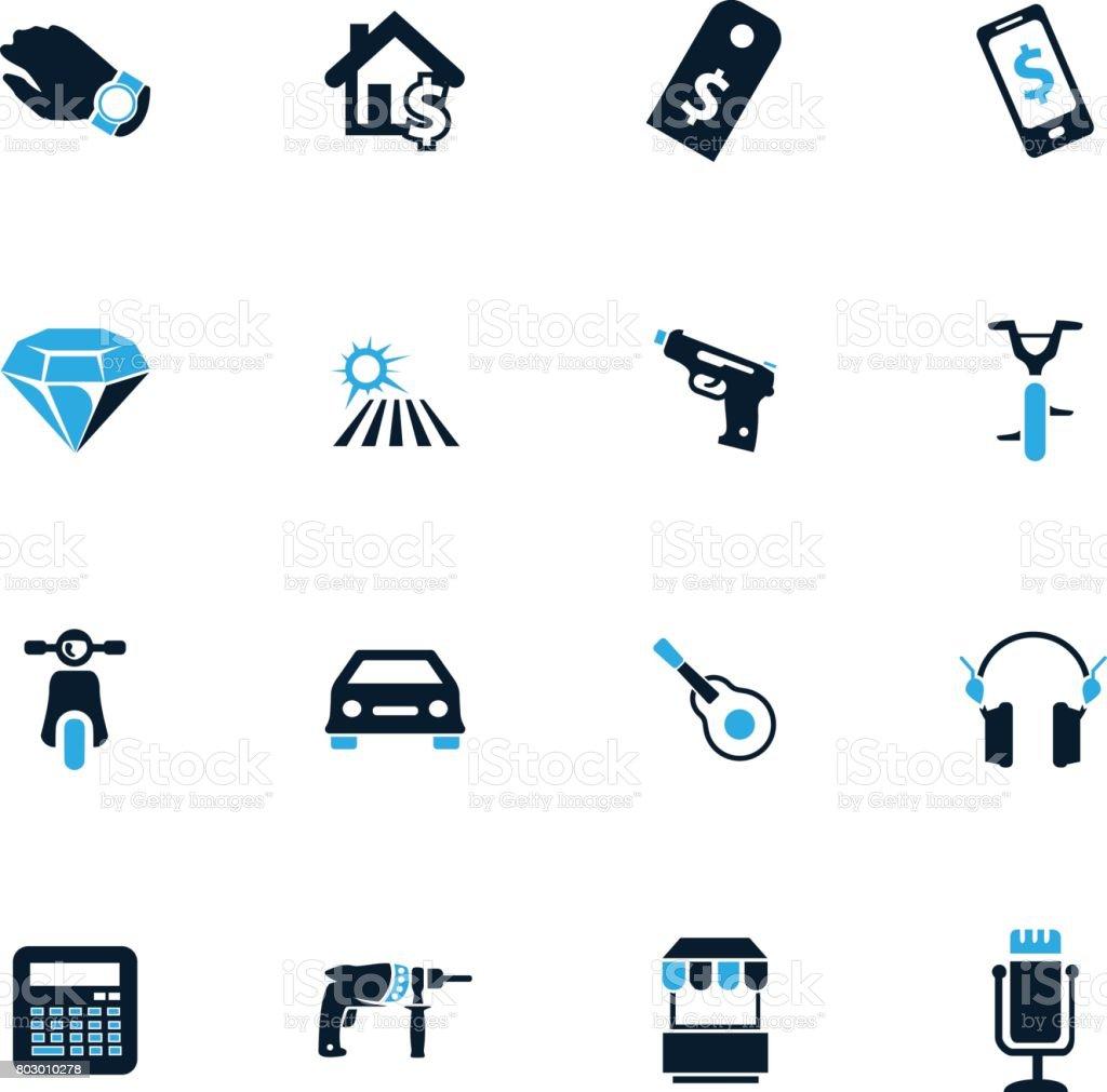Pawnshop icons set vector art illustration