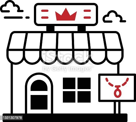 istock Pawnshop or Pawnbroker with clouds Concept Vector Icon Design, Business and Management Symbol, Banking and finance Sign, ECommerce and Delivery Stock illustration 1331307978