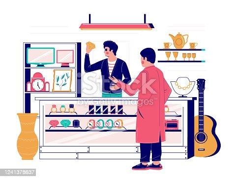 istock Pawnshop services, vector flat style design illustration 1241378637