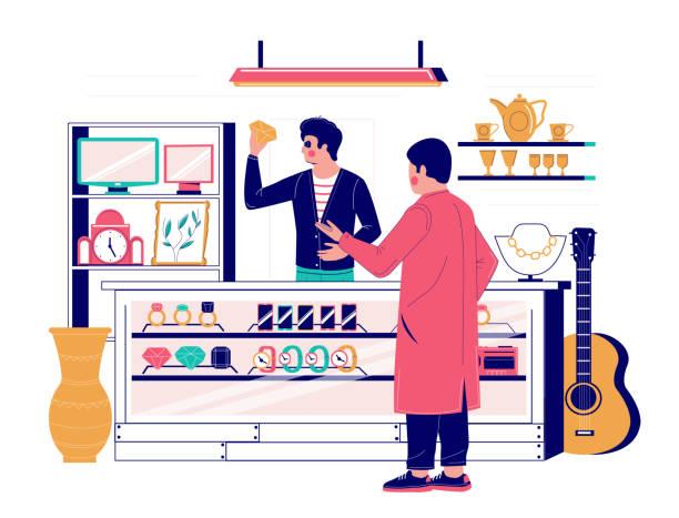 illustrazioni stock, clip art, cartoni animati e icone di tendenza di pawnshop services, vector flat style design illustration - uomo artigiano gioielli