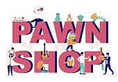 istock Pawnshop typography banner template, vector flat illustration 1243522126