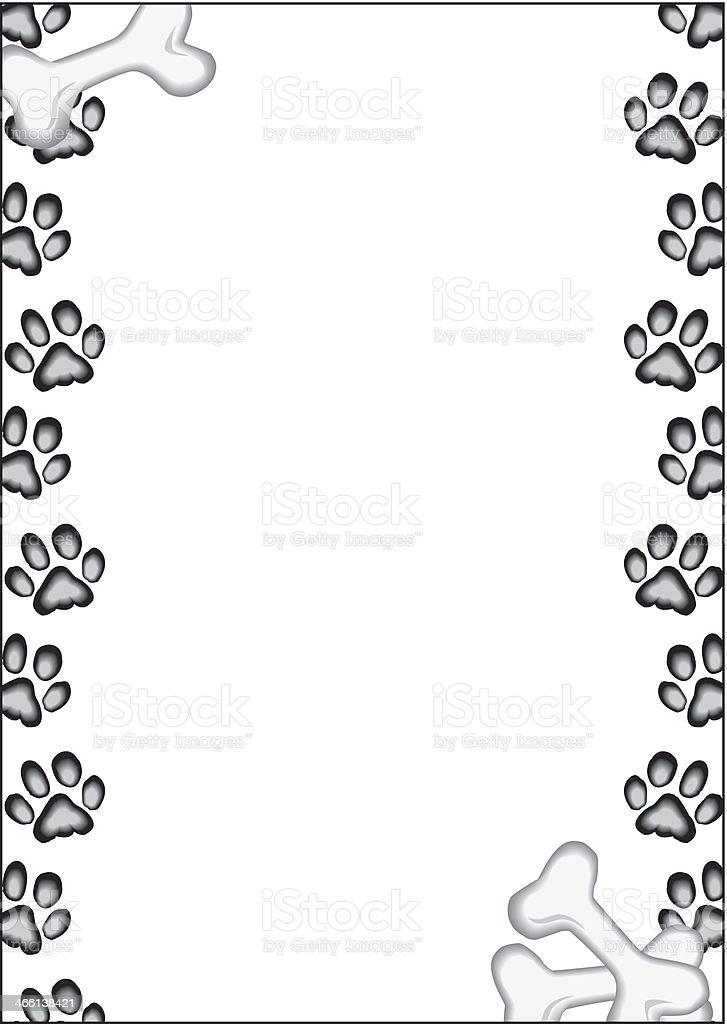 Pawprints Bones Frame royalty-free stock vector art