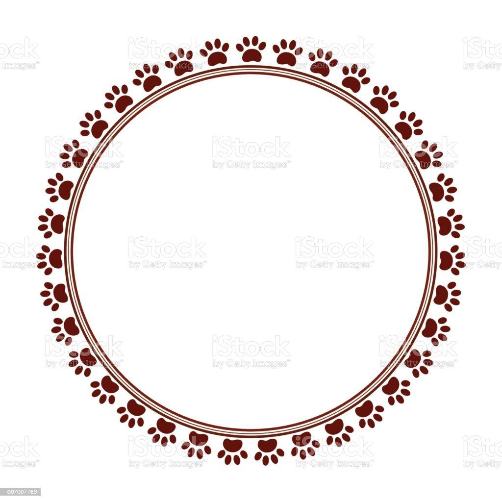 Paw Print Circular Frame Clip Art - Best Graphic Sharing •