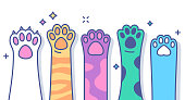 Cat or Dog pet paws raised line drawing colorful horizontal volunteering