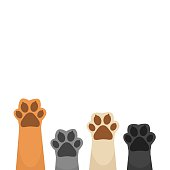 Paws up background vector illustration