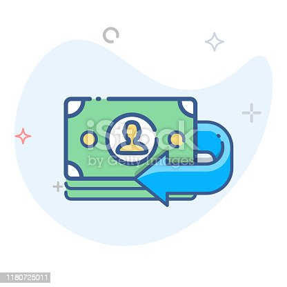 Pay back vector line icon. Money back outline illustration. eps 10
