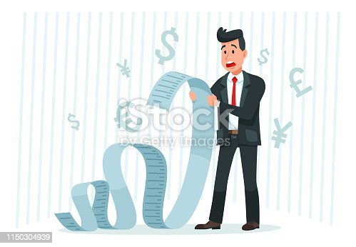 Pay big bill. Businessman holding long bill, shocked by payment amount and paying finance bills. Business banking bills, delayed payment or overdue paying debt invoice form cartoon vector