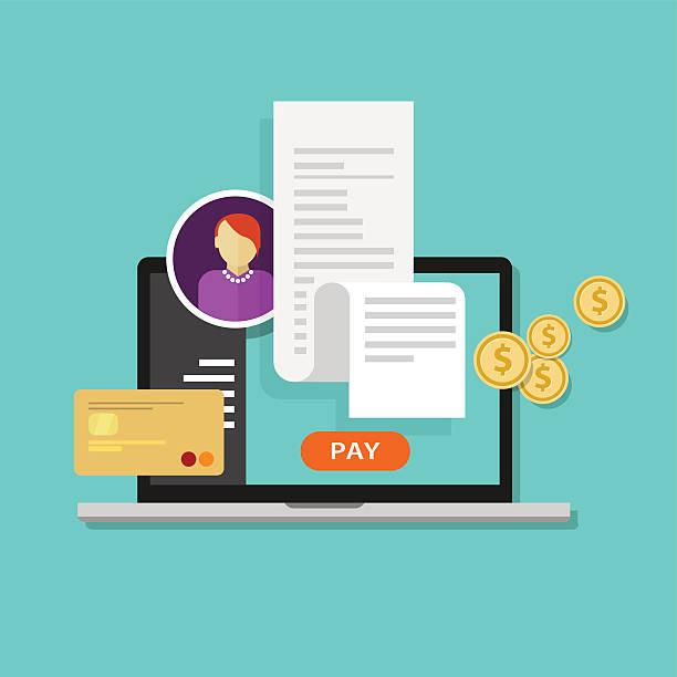 pay bills tax online receipt billing payment vector art illustration