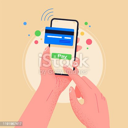 Use phone when shopping. Pay by credit card via electronic wallet wirelessly on phone. New mobile banking app and e-payment vector illustration. Hand with smartphone  online banking. Shopping by phone and connected card.