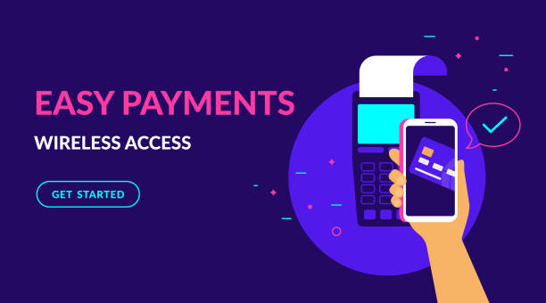 ilustrações de stock, clip art, desenhos animados e ícones de pay by credit card wirelessly and easy flat vector neon illustration for ui ux web design - paying with card contactless