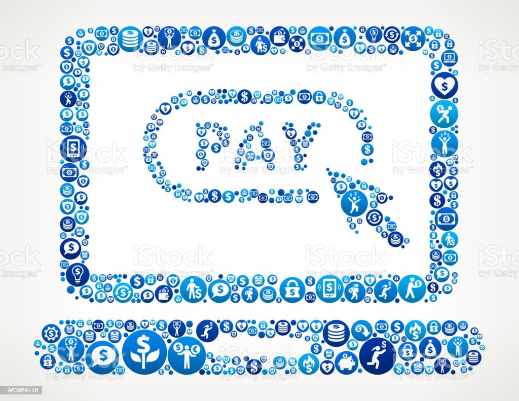 Pay Online Money Blue Icon Pattern Background - Royalty-free Bank - Financial Building stock vector