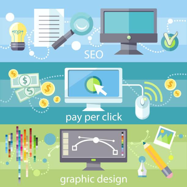 seo, pay-per-click and graphic design - webdesigner grafiken stock-grafiken, -clipart, -cartoons und -symbole
