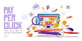 istock Pay per click banner, computer desktop with cursor 1219487542