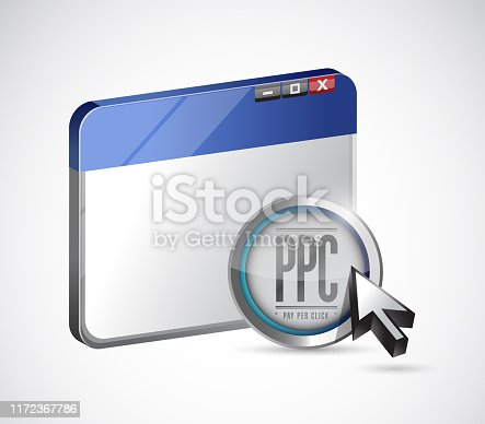 Pay per click browser and sign button illustration design over a white background