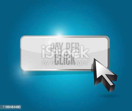 Pay per click button illustration design over a blue background