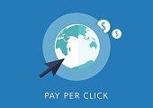 pay per click concept flat icon