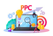 istock Pay Per Click Concept. Tiny Characters at Huge Computer Desktop with Cursor Clicking on Ad Button. Ppc Business, Cpc Advertising Technology, Sponsored Listing. Cartoon People Vector Illustration 1251358514