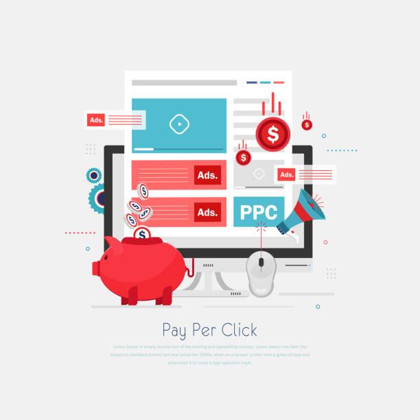 pay per click info grafik piktogramm. internet-werbemodell. - tablet mit displayinhalt stock-grafiken, -clipart, -cartoons und -symbole
