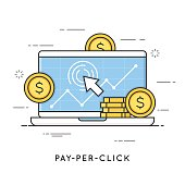 Pay per click, internet marketing. Flat line art style concept. Editable stroke.