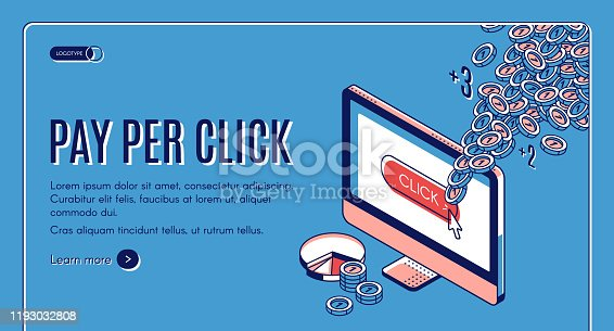 Pay per click isometric landing page. Ppc marketing strategy, mouse cursor push button on site at computer monitor, coins flying out of screen. Earning money online Vector illustration line art banner