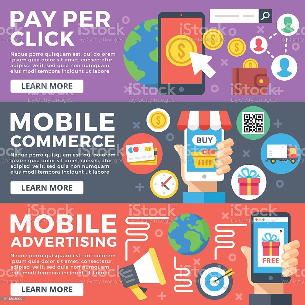 Pay per click, mobile commerce,mobile advertising flat illustrations set vector art illustration