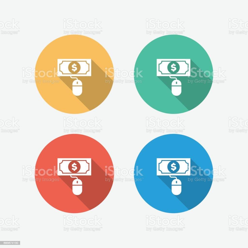 マルチ色の円フラット アイコンをクリックごとに支払う ロイヤリティフリーマルチ色の円フラット アイコンをクリックごとに支払う - アイコンのベクターアート素材や画像を多数ご用意