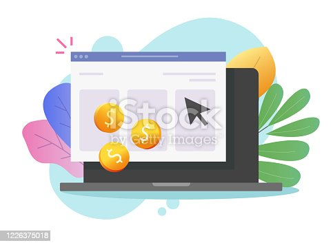 istock Pay per click or cost per click website money earning online on laptop computer vector icon flat cartoon, pc web or internet coins cash income via advertising clicking, ppc or cpc symbol modern image 1226375018