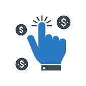 istock Pay Per Click Vector Glyph Icon 1263423531